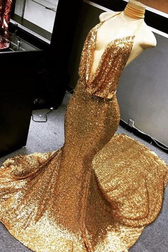 Golden Sequin Halter Plunging V-Neck Backless Mermaid Prom Dress With Court Train