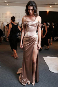 Gorgeous Champagne Strapless Off-the-shoulder Folded Neckline Evening Dress