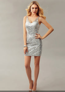Gorgeous Deep V Neck Open Back Sheath Cocktail Dress With Sequins