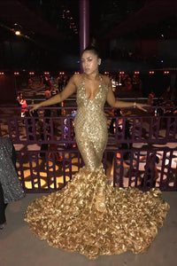 Gorgeous Gold Sleeveless Halter Deep V Neck Mermaid Evening Dress With Floral Train