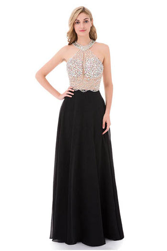 Gorgeous Halter Neckline Keyhole Open Back Floor Length Prom Dress With Rhinestones