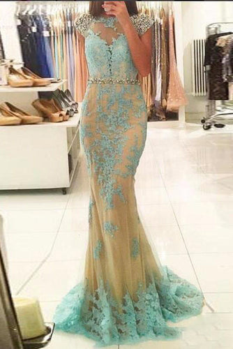 Gorgeous Illusion Neckline Beaded Cap Sleeves Mermaid Dress with Lace Appliques