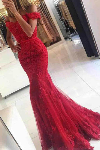 Gorgeous Red Strapless Off-the-shoulder Mermaid Evening Dress with Lace Appliques