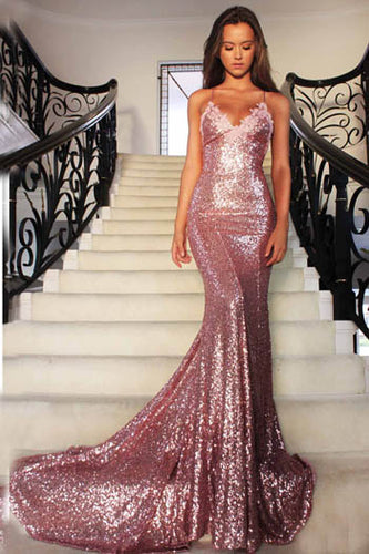 Gorgeous Rose Gold Sequined Spaghetti Strap Deep V Neckline Backless Mermaid Prom Dress