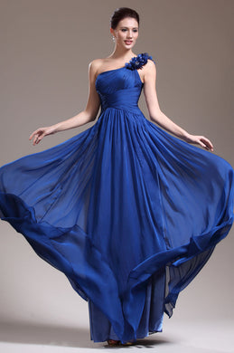 Gorgeous Royal-Blue Single-Shoulder Empire Floor-Length Dress