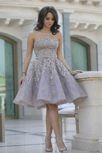 Gorgeous Strapless Straight Neckline Cocktail Prom Dress with Sequins Embellishment