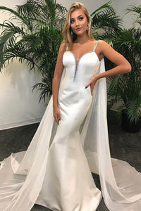 Gorgeous White Spaghetti Strap Deep V Neckline Mermaid Prom Dress With Sheer Covering
