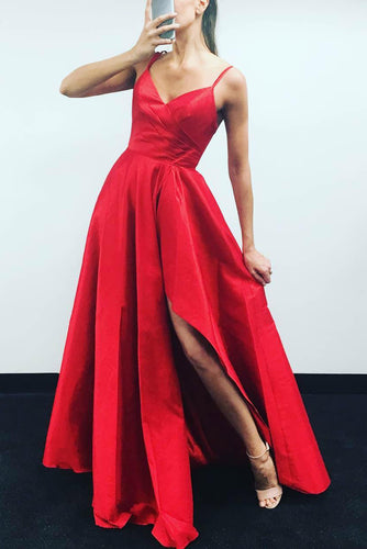 Graceful Red A-Line Box-Pleated Long Dress With Spaghetti Straps And A Flaring Skirt