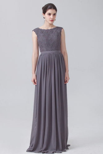Gray Bateau Lace Chiffon Empire Long Bridesmaid Dress
