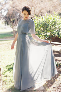 Gray Sheer-Illusion Layered Open-Back Empire Floor-Length Dress
