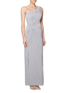 Gray Single-Shoulder Ruched Long Column Bridesmaid Dress