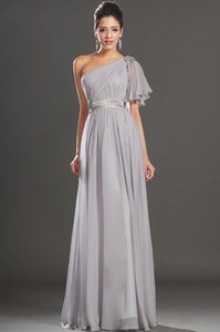 Gray Single-Shoulder Ruffled Sleeve A-Line Chiffon Dress With A Silver Sash