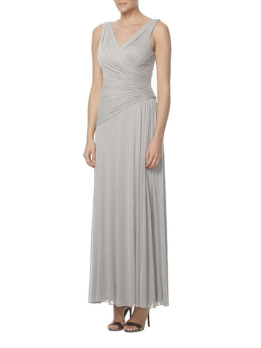 Gray Strapped V-Neck Ruched Column Bridesmaid Dress