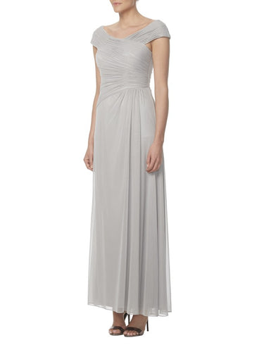 Gray V-Neck Cap-Sleeved Empire Long Bridesmaid Dress With Ruched Details