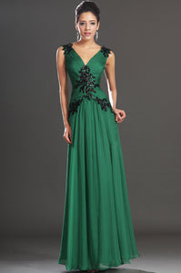 Green Chiffon Long Dress With Beaded Black Appliques