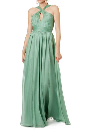 Green Criss Cross Neckline Keyhole Pleated A-Line Floor Length Bridesmaid Dress