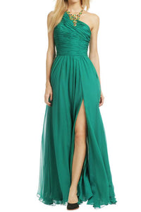 Green Pleated Single Shoulder A-Line Floor Length Bridesmaid Dress With Side Slit