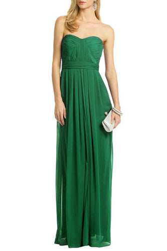 Green Strapless Sweetheart Neckline Pleated A-Line Floor-Length Bridesmaid Dress