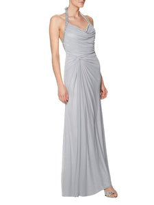 Halter Beaded Gray Draped Open-Back Floor-Length Bridesmaid Dress