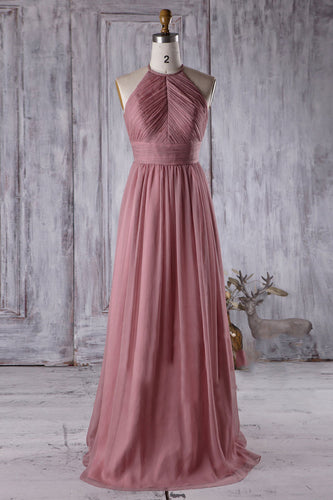 Halter Ruched Empire A-Line Chiffon Bridesmaid Dress