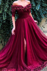Handmade Flower Off Shoulder Half Sleeves Long Slit Tulle Prom Dress with Sweep Train