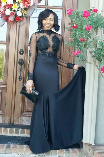 High Neck Long Sleeve Satin Illusion Mermaid Prom Dress With Lace Applique