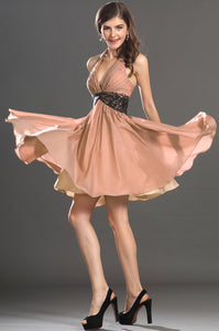 Hot Halter Ruched Knee-Length Short Dress With Empire Design And Sequined Waist Band
