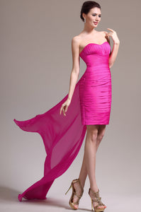Hot Pink Short Strapless Sweetheart Sheath Ruched Dress With A Back Floor-Length Streamer