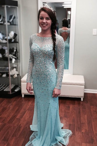 Icy-Blue Sheer-Illusion Long-Sleeved Sequined Beaded Long Dress