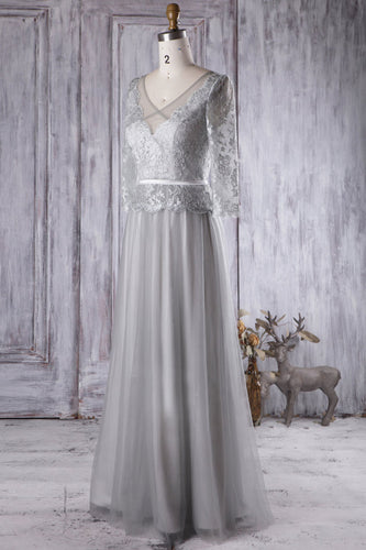 Illusion 2/3 Sleeved Gray Tulle Floor-Length Bridesmaid Dress