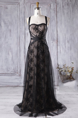 Illusion Black Lace Tulle Bridesmaid Dress With Splash Train