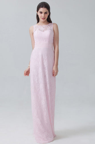 Illusion Pink Sweetheart Empire Column Lace Bridesmaid Dress