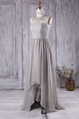 Illusion Rhinestones Jersey Hi-Lo Chiffon Bridesmaid Dress