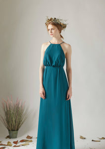 Ink Blue Chiffon Spaghetti Strap Floor-Length Bridesmaid Dress With Lace