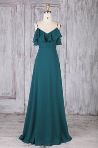 Ink Blue Chiffon Spaghetti Strap Floor-Length Bridesmaid Dress With Ruffles