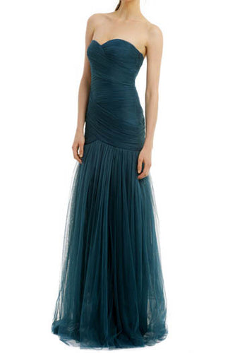 Ink Blue Pleated Strapless Sweetheart Neckline Tulle Floor Length Bridesmaid Dress