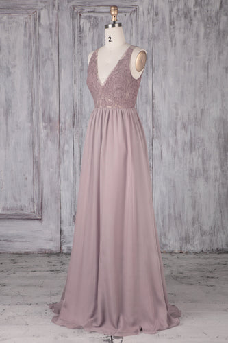 Keyhole Back V-Neck Wisteria Chiffon Sweep Train Bridesmaid Dress With Lace Bodice