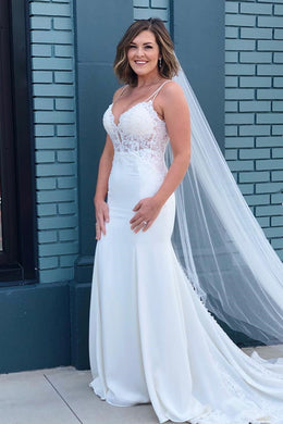 Lace Illusion Plunging Neck Sleeveless Long Solid Fit-And-Flare Wedding Dress