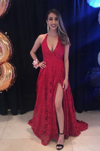 Lace Plunging Neck Sleeveless Long Solid Red Slit Prom Dress with Sweep Train
