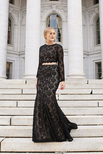 Lace Round Neck Long Sleeve Open Back Two-Piece Mermaid Formal Dress With Sequins