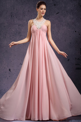 Lace Strap Halter Empire Pink Floor Length Long Chiffon Dress