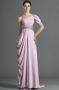 Lavender Single-Shoulder Draped Satin Long Dress With A Dainty Look