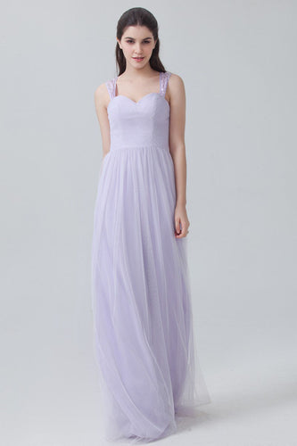 Lavender Strapped Sweetheart Empire Long Bridesmaid Dress