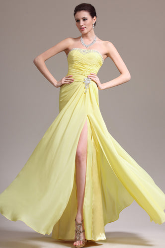 Lemon Yellow Sleeveless Strapless Chiffon Long Dress With Delicate Bead Works