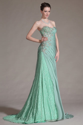 Light Green Sweetheart Appliqued Ruched Open-Back Long Dress