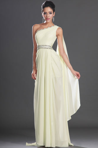 Light Yellow Single Shoulder Floor-Length Long Dress With A Back Streamer