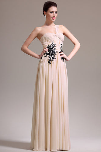 Long And Flowing Champagne Single-Shoulder Empire Dress With Black Appliques