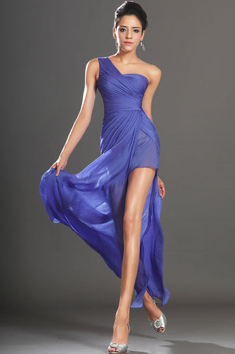Long And Flowy Single-Shoulder Chiffon Dress With A High Side-Slit