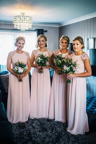 Long Jewel Neck Cap Sleeve Pink Chiffon Bridesmaid Dress With Lace