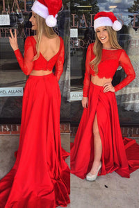 long-sleeve-bateau-neck-two-piece-court-train-split-satin-prom-dress-with-lace-bodice